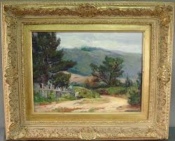 "Sold Price: Ada Belle Champlin (American, 1875-1950), California Landscape,  o/board, 12"" x 16"", signed LR, farmed 19 1/2"" x 24"". Good condition. -  October 3, 0107 5:30 PM EDT"