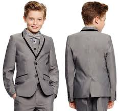 Boys Light Grey Pants Us 79 0 Light Grey Boys Formal Wear Notch Lapel Kids Tuxedos Wedding Party Suits Custom Made Boys Suits Jacket Pants Vest Tie In Suits From Mens