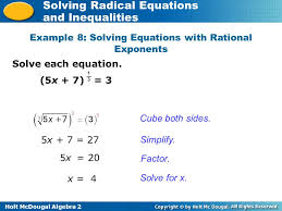 holt mcdougal algebra 2 solving radical equations and inequalities example 8 solving equations with rational