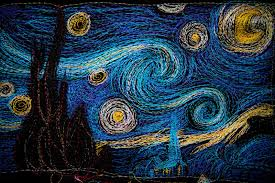 machinequilter: The Starry Night & And while she was here she saw her sister Ellie working on an art project  inspired by Vincent van Gogh's The Starry Night. Adamdwight.com