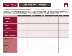 Food Diary Chart 1aa