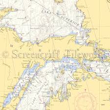 Lake Michigan Nautical Chart Wisconsin Upper Penninsula Lake Michigan Nautical Chart Decor