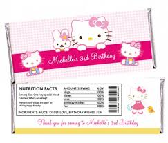 personalized chocolate bar wrappers hello kitty cute pink cat custom personalized candy bar wrappers