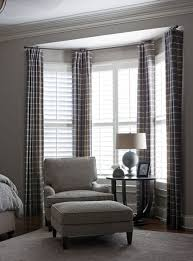 bedroom bay window curtains...I'd like to hang maroon sheers in