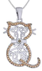 round cut brown natural diamond cat pendant necklace in 14k