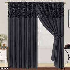 LUXURY-Damask-Curtains-Pair-Of-Half-Flock-Pencil- ...