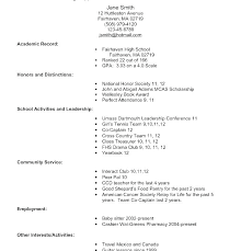 Example Of High School Resume For College School Resume Examples