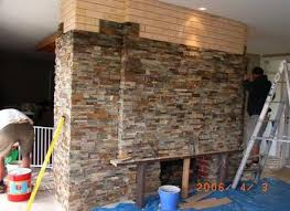 covering brick fireplace with stone veneer fireplaces