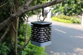 solar powered candle light led camping garden yard outdoor hanging lantern lamp