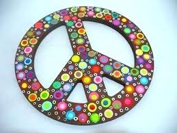 peace sign decor hand painted wooden polka dotted wall edible cake decorations outdoor lighted ornaments brown