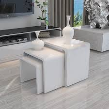 modern design white <b>high gloss</b> nest of 3 <b>coffee table</b>/side table ...