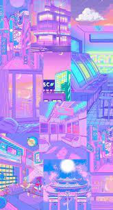 cute aesthetic retro anime blue and ...