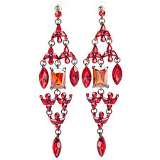 ritzy crystal chandelier earrings red