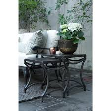 summer classics ine black iron outdoor nesting tables pair kathy kuo home