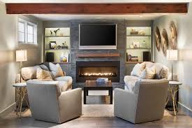 gas fireplace pictures living room traditional with built in shelves matching sofas