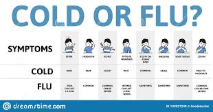 Cold And Flu Symptoms Table Infographic Poster With Text