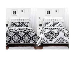 Amazon.com: Black White Damask Reversible Girls Teens Full Comforter Set:  Home & Kitchen
