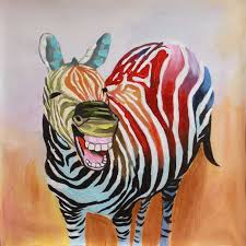 frameless canvas art the laughing zebra oil painting multicolor