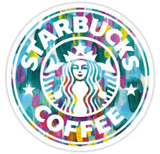 Painted Starbucks Logo' Sticker by aterkaderk in 2018 | badge ...