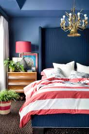Navy blue and red bedroom