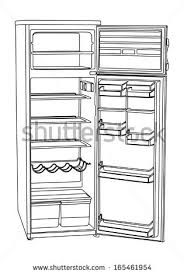 open refrigerator drawing. open drink refrigerator vector isolated on white background. vertical empty fridge illustration. drawing d