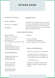 005 Intern Name Template Ideas Resume Templates For Phenomenal