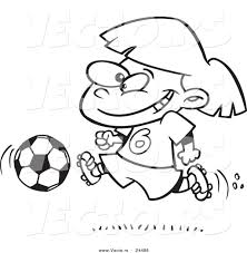 Small Picture Vector of a Cartoon Soccer Girl Running Outlined Coloring Page