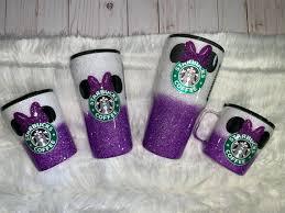 Starbucks Tumbler Minnie Starbucks Glitter Tumbler Coffee | Etsy