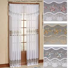 vintage embroidered tailored sheer curtain panel to expand
