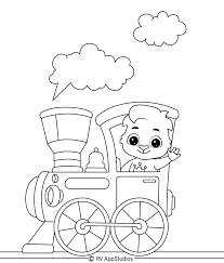 This colouring page shows a family about to embark on an airplane for their summer holiday. Train Coloring Pages For Kids
