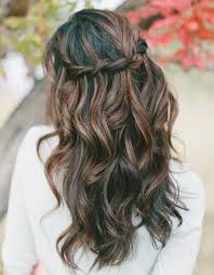 this is a beautiful black and brown look this style has loose curls and the sides of the hair are pulled back into sort of a weaving pattern