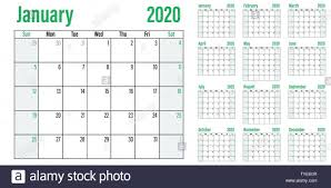 12 Week Calendar Template Calendar Planner 2020 Template Vector Illustration All 12