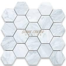 carrara marble tile. Carrara White 3 Inch Hexagon Mosaic Tile Honed Marble T