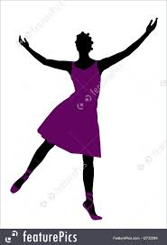 silhouettes and outlines african american female ballerina ilration silhouette on a white background