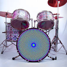 Bass Drum Skin Design Psychedelic Geometric Drum Skin Design For Bass Snare And