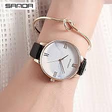 sanda casual las watches women fashion watch new elegant dress leather strap ultra slim wrist watch