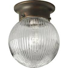 progress lighting glass globes antique bronze one light flush mount with clear ribbed glass globe