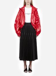 faux leather pleated midi skirt with logo