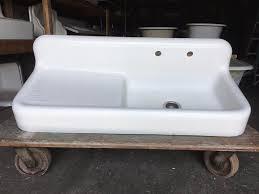 Antique Cast Iron White Porcelain 52 Kitchen Farm Sink Old Vtg