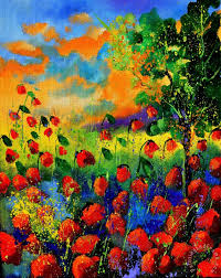 red poppies 45150 painting pol ledent red poppies 45150 art print