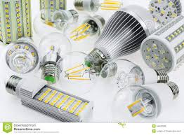 Kinds Of Led Light Bulbs Lot E27 Led Bulbs With Different Types Of Chips Stock Photo