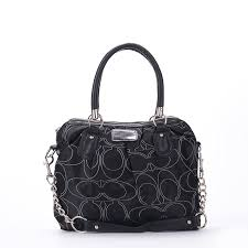 Coach Legacy Signature Medium Black Satchels EXA