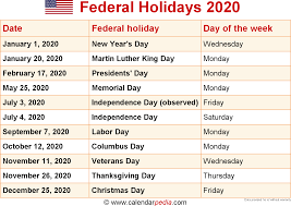 2020 Calendar With Us Holidays Federal Holidays 2020
