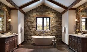 simple rustic bathroom designs. Symmetrical Modern Rustic Bathroom Ideas With Semi Cathedral Ceiling And Exposed Beam Using Simple White Bathtub Designs