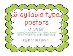 6 Syllable Type Posters Clover Teaching Literacy Type