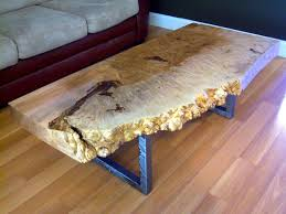 custom made live edge maple burl coffee table with square metal legs