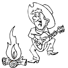 Small Picture Cowboy playing guitar coloring page