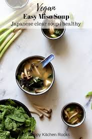 easy miso soup anese clear soup vegan healthy dish collage with text overlay
