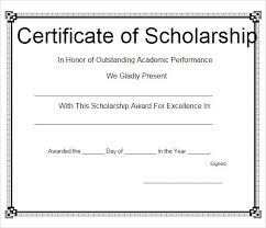 Scholarship Certificate Template For Word 11 Scholarship Certificate Templates Free Printable Word