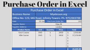 contoh purchase order word make purchase order in excel